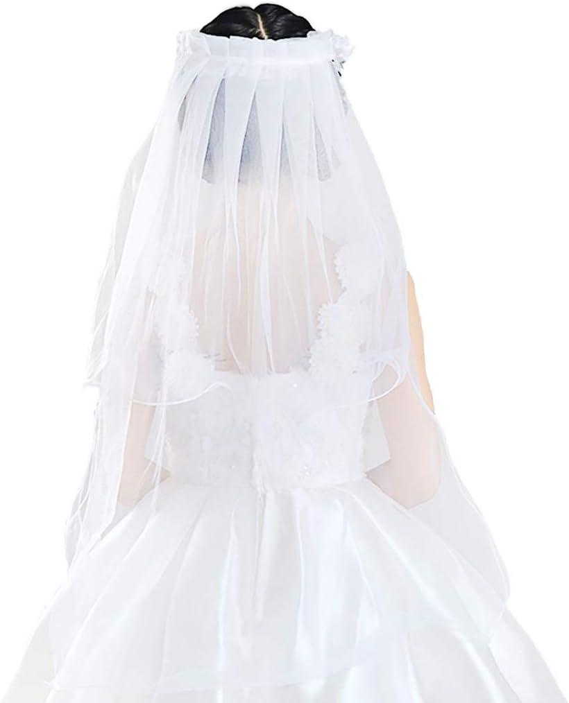 bluederst Children Girls Flower Girl Veils Wedding First Communion Veils Wedding Party Wreath Headband Beaded