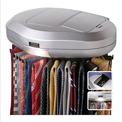 HALAWAKA Electric Motorised Tie Rack Automatic Revolving Tie Rack and Belt Rack Holds up to 30 Ties Revolving Closet Organizer Neck Tie Storage Caddy Display for Mens Accessories