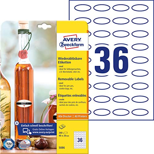 AVERY Zweckform 360 Flaschenetiketten selbstklebend (40x20 mm, Oval, Aufkleber Ideal für Einmachgläser, Gewürzgläser, Likörflaschen, Selbstgemachtes aus Der Küche, Art. 5086) 10 Blatt Weiß