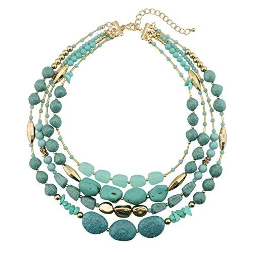 Bocar NK-10533 Collana multistrato con perline, a 4 fili, 43,2 cm, regalo da donna e materiale non metallico, colore: 533, cod. NK-10533