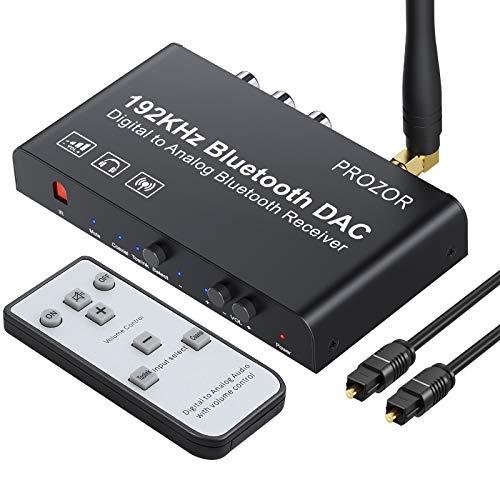 PROZOR DAC Konverter 192kHz Eingebauter Bluetooth V5.0 Empfänger Digital zu Analog Stereo L/R RCA 3.5mm Audio Konverter mit IR-Fernbedienung Unterstützt Mute/Lautstärkeregelung/Power ON oder Off