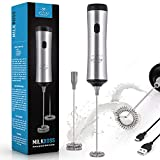 Zulay Super High Powered Rechargeable Milk Frother and Milk Foamer for Coffee - Portable Handheld Frother Whisk for Bulletproof® Coffee, Cappuccino, Keto Coffee, Matcha and Hot Chocolate - Includes 1-Single and 1-Double Coil Whisks, Unlimited Life™ - All Silver