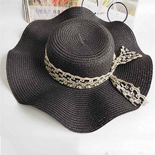 FENICAL Large Brim Summer Beach Hat Fedora Trilby Foldable Straw Sun Hats for Children Girls 48-54CM