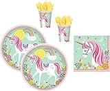 Magic Unicorn 48 TLG. magisches Einhorn Teller Becher Servietten Party-Set für 16 Kinder