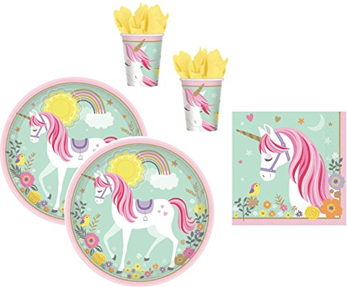 Magic Unicorn 48 TLG. magisches Einhorn Teller Becher Servietten Party-Set für 16 Kinder