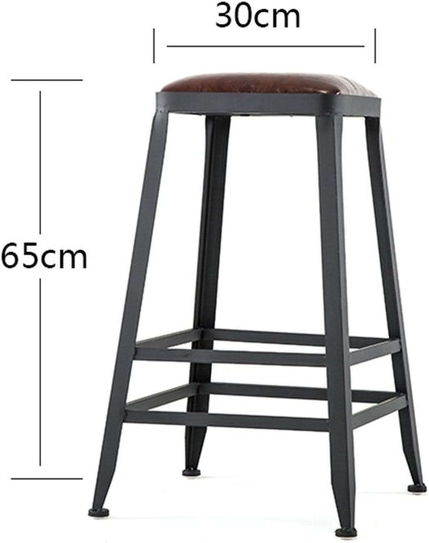 BARSTOOLRI High Stool Iron Art Sturdy Durable Modern Fashion Seat Ergonomics Bar Chair for Living Room Kitchen Office (Size   65CM)