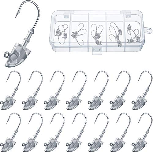 15 Pieces Swimbait Jig Head Lead Jig Head Bait Lead Weighted Hooks Spin Fish Jig Heads for Saltwater and Freshwater (3/16 oz)