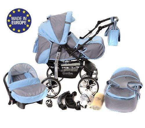 Kamil - Sistema de viaje 3 en 1, silla de paseo, carrito con capazo y silla de coche, RUEDAS ESTÁTICAS y accesorios (Sistema de viaje 3 en 1, gris, azul)