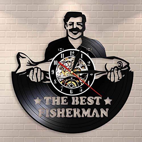 SFDGBTH El Mejor Reloj pesquero de la Pared del Pescador Hombre de Pesca Divertido del Reloj de la Pared del récord de Vinilo del Vino para el Pescador Papá de los Amantes de la pesca-12in