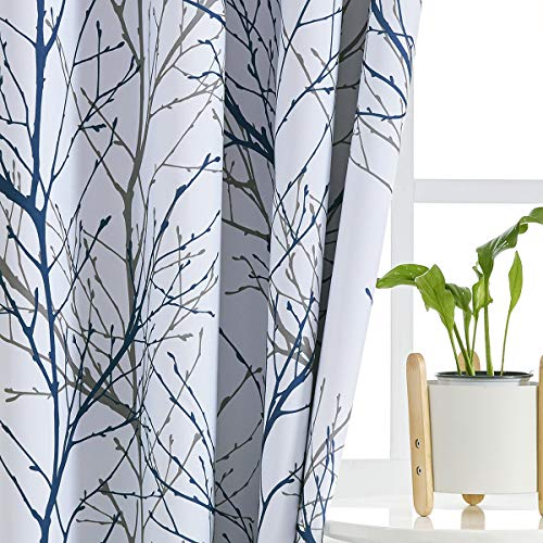 """Blue White Curtains for Bedroom 84"""" Grey Tree Print Half-Blackout Curtain Panel with Liner Branch Curtain for Living Room,50"""" x 2 Panels Width Grommet Top"""