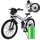 Profun Bicicleta Eléctrica Plegable con Rueda de 26 Pulgadas, Batería de Iones de Litio de Gran Capacidad (36 V 250 W), Suspensión Completa Calidad y Engranaje Shimano (Negro+Blanco)