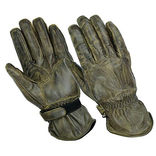 BOSmoto Motorrad Handschuhen Racing Kevlar gewachst Leder Handschuhe Wachs (L, Wachs Braun)