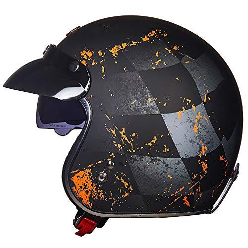 YAUUYA Jet Motorradhelm Sonnencreme Retro Helm Motorradhalbhelm City Open Cruiser Helm Elektroauto DOT Zertifiziert Erwachsene Männer Und Frauen, M/L/XL/XXL