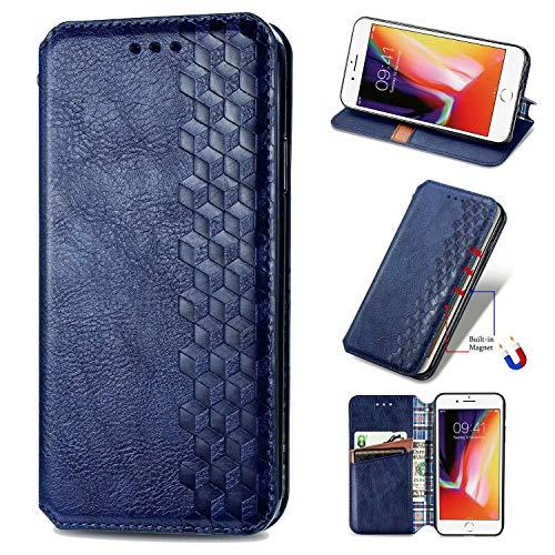 Miagon iPhone 6 Plus/6S Plus Mode Hülle,Retro PU Leder Flip Brieftasche Abdeckung Magnetverschluss Folio Ständer Kartensteckplätze Handyhülle,Blau