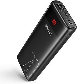 شاحن محمول للجوال من روموس، بقوة 20000mAh ، مزود بحزمة بطاريات خارجية مع منفذ USB مزدوج 2.1 امبير وشاشة LCD، مثالي اثناء ا...