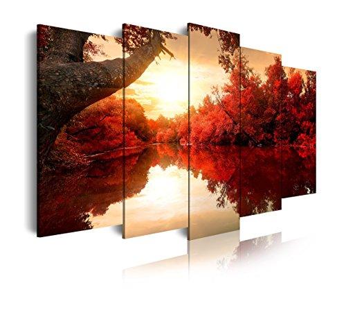DekoArte 192 - Cuadros Modernos Impresión de Imagen Artística Digitalizada | Lienzo Decorativo Para Tu Salón o Dormitorio | Estilo Naturaleza Paisaje Con Agua Arboles Rojos | 5 Piezas 150 x 80 cm