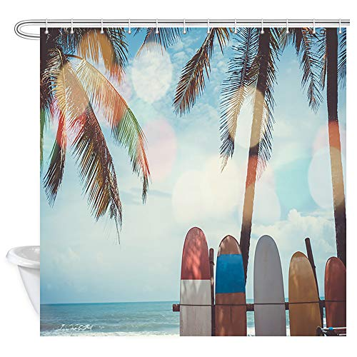 Summer Surfing Shower Curtain, Surfboards Beside Coconut Trees at Summer Beach with Sun Light and Blue Sky Background Shower Curtain for Bathroom, Cloth Fabric Shower Curtain 12PCS Hooks, 69X70IN