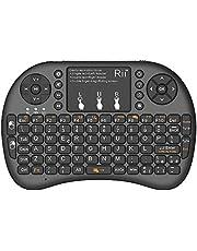 Rii Mini i8+ - Mini teclado inalámbrico (disposición de teclas italiana), retroiluminado, con panel táctil para smart TV, mini PC, HTPC, consola y ordenador. i8+ Wireless (NERO)