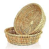 Natural Wicker Basket Fruit Bread Basket Tray Storage Basket Willow Handwoven Basket Fruit Vegetables Serving Basket, Round Stackable Basket,2 Pieces