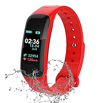Fitness Tracker,Activity Tracker Watch with Heart Rate Blood Pressure Blood Oxygen Monitor,Waterproof Smart Fitness Band with Step Counter,Calorie Counter,Sleep Monitor for Kids Women Man (red)