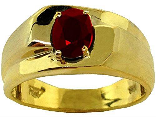 Rubí anillo plata de ley o plata chapado en oro amarillo