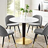 Modway Zinque Round Artificial Marble 40' Dining Table in Gold White, 40 Inch