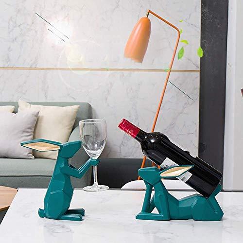 YAeele Arte de la Resina de la decoración de la Sala Mesa de Comedor Mesa de gabinete del Vino decoración Simple Creativa Conejo Vino del Estante del sostenedor de la Copa Delicado Hermosa
