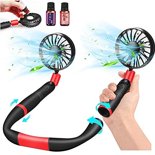 Ventaglio al Collo, Portatile Mini USB Ricaricabile Fan 3 Velocità Regolabili - Indossabile Luce...