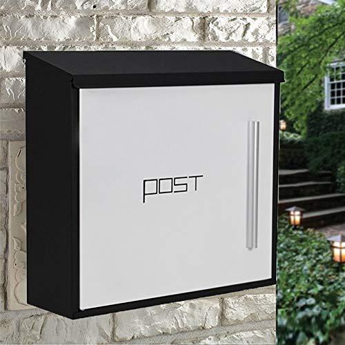 ZSIF Mailbox, Europese moderne villa outdoor regen brievenbus, outdoor brievenbus creatieve roestvrij staal brievenbus, afmeting 36.5X9.6X37cm Zwart+wit