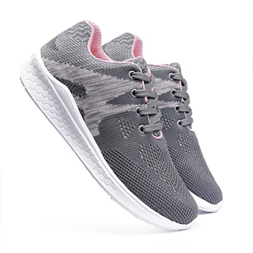 meriggiare® Women Fashion Sneakers Lightweight Sport Gym Jogging Casual Walking Air Cushion Athletic Tennis Running Sports Shoes-Grey EURO-41