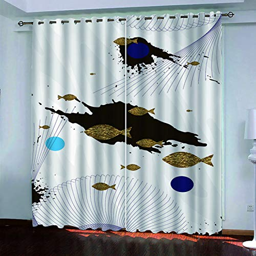 MMHJS 3D Animal Landscape Digital Printing Curtains Hotel Bedroom Living Room Blackout Curtains Waterproof And Durable Household Items (2 Pieces)