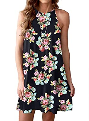 Feiersi Women Halter Neck Boho Print Sleeveless Casual Mini Beachwear Dress Sundress