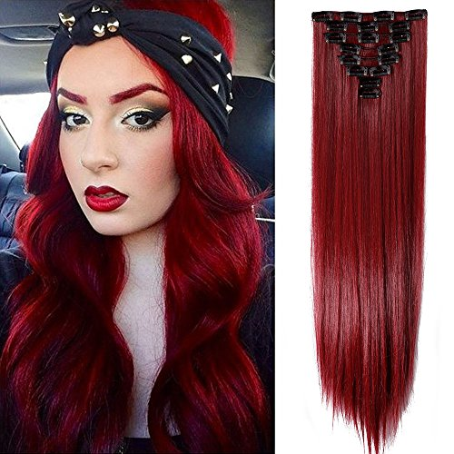 TESS Haarteil Extensions wie Echthaar Clip in Kunsthaar günstig 8 Tressen 18 Clips Haarverlängerung Glatt Rot 26