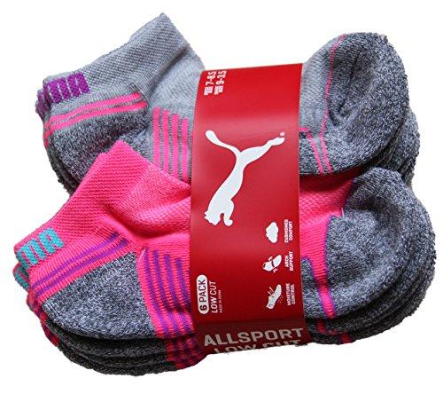 Puma Kids All Sport Cushioned Low Cut Socks - 6 Pack Shoe Size 9 - 3.5 (Gray/ Pink/ White)