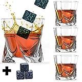 Whiskey Glas Set 4mit Steinen–Twisted geformte, Whiskey Gläser und Bonus Granit Whiskey Steine–Ideal für Scotch und Bourbon