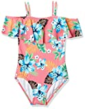 Kanu Surf Girls UPF 50+ Beach Sport Off Shoulder One Piece Swimsuit, Peggy Coral, 12