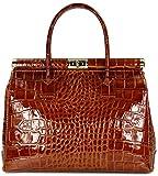 Belli 'The Bag XL Leder Henkeltasche Handtasche Damen Ledertasche Umhängetasche - 34x25x16 cm (B x H x T) (Cognac lack kroko)