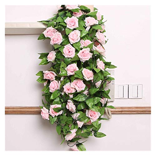 LaiYueShangMao Beautiful 2PCS Fake Silk Rose Flower Vine Wedding Decoration New Artificial Leaves Hanging Wedding Home Decor Simulation Rose Home Garden Decorating (Color : Light Pink)