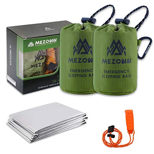 Mezonn Emergency Sleeping Bag Survival Bivy Sack Use as Emergency Blanket Lightweight Survival Gear for Outdoor Hiking Camping Keep Warm After Earthquakes, Hurricanes and Other disasters (Green Set)