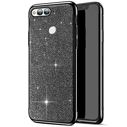 Carcasa ultrafina compatible con funda Huawei Honor 7X, funda brillante transparente con purpurina, funda protectora de silicona TPU suave Negro