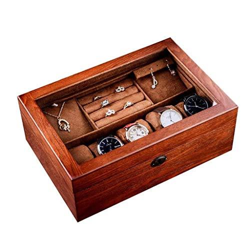 XHLLX Boîte De Montre Boîte À Bijoux, 6 Machines À Repasser, Étui De Montre en Bois Surmontée De Verre