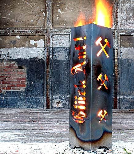 moebeldeal Feuersäule Ruhrgebiet Feuerschale Ruhrpott Souvenir Feuerkorb Kamin Glück auf aus Metall | Geschenkidee | 62,5 cm hoch
