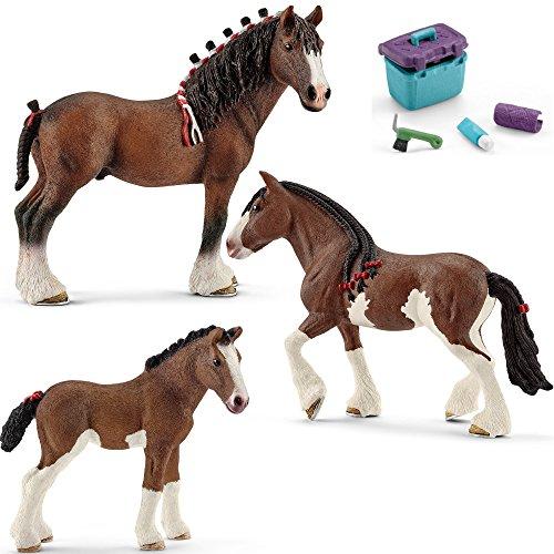Horseclub Schleich - Clydesdale Familie (13808 + 13809 + 13810) + 42366 Pferdepflege