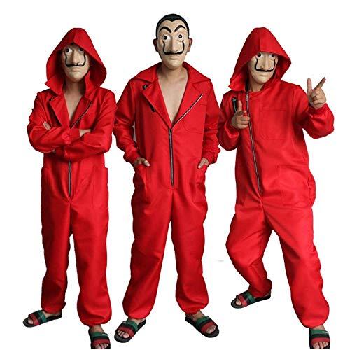 Casa di Carta Rapinatore Costume,Money Heist Overalls con Maschera per Cosplay Halloween Costume Hoodie Jumpsuit Costume per Adulti Unisex(S)