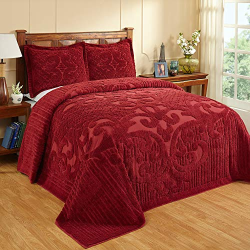 Better Trends Ashton Collection is Super Soft and Light Weight in Medallion Design 100 Pecent Cotton Tufted Unique Luxurious Machine Washable Tumble Dry, Queen Bedspread, Burgundy,BSASQUBU