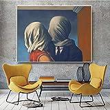EPSMK Leinwanddruck Die Liebhaber Ölgemälde auf Leinwand Poster und Drucke Skandinavische Wandkunst Bild für Wohnzimmer-Rahmenlos