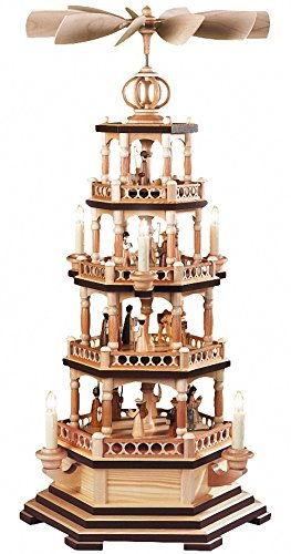 Müller Weihnachtspyramide Heilige Geschichte, 4-stöckig, 72 cm hoch, elektrisch beleuchtet und angetrieben (230V, 50Hz), Natur, original Erzgebirge Seiffen