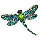 daorier Mujer Joyas Broche Alfiler en forma de libélula en Crystal Navidad Corsage Brooch de decoración ropa pines accesorios regalo de la San Valentín verde 1pcs