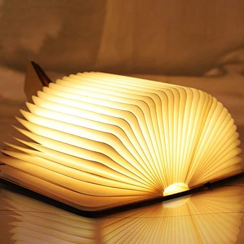 Groß LED Buchlampe, Hölzerne faltende Buchlampe, USB wiederaufladbar Tischleuchte, Nachttischlampe, Dekorative Lampen, 360°Faltbar