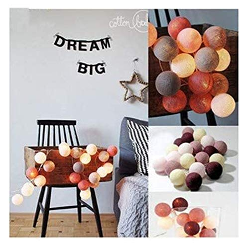 XIAOGING Led Cotton Ball Garland String Lights Christmas Outdoor Holiday Wedding Party Crib Fairy Tale Decoration Lights 3m,1.5m10led-battery,Wine Red-a82